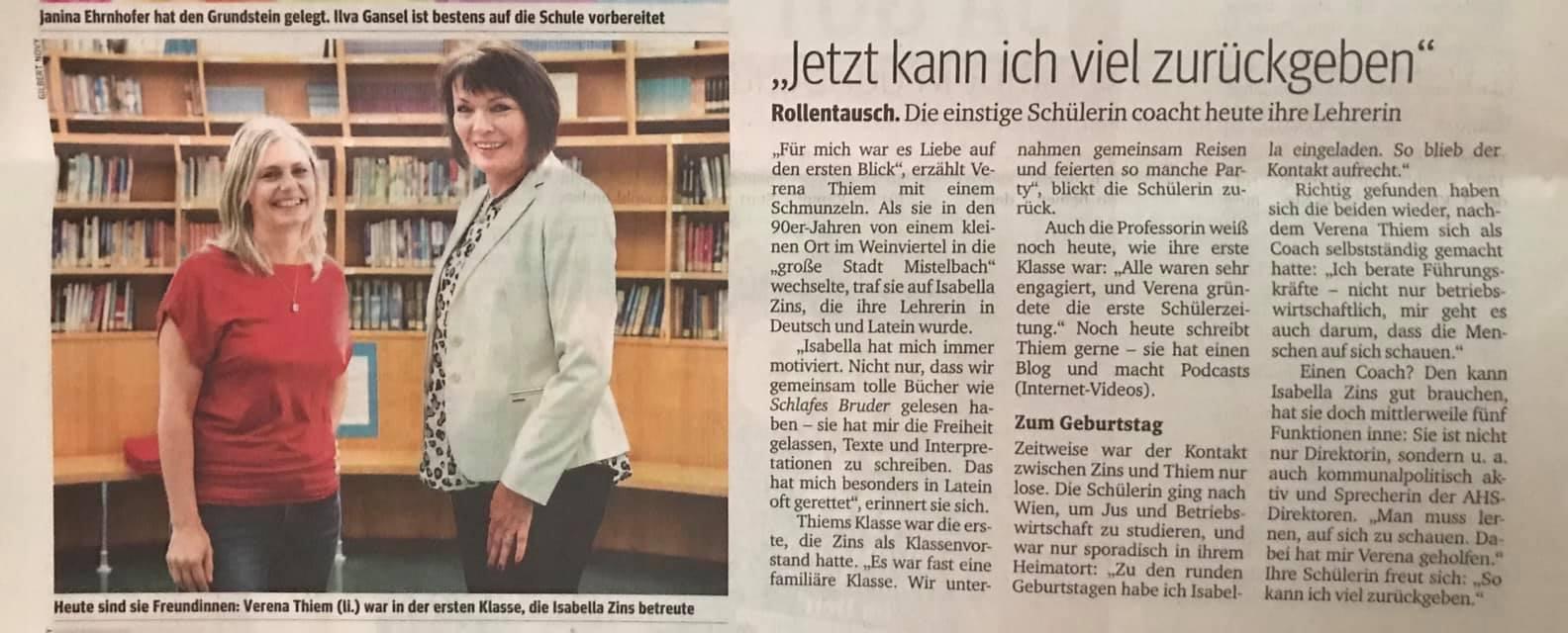 Verena Thiem Isabella Zins Kurier Artikel 28.9.2019 Lehrer Schüler Doppelporträt